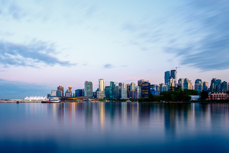 stanley: Vancouver skyline at sunset as seen from Stanley Park British Columbia Canada