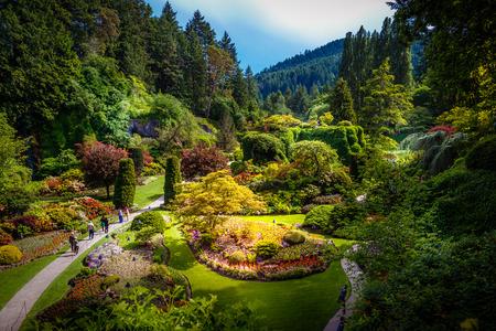 Verzonken tuin op de Butchart Tuinen in Victoria Vancouver Island British Columbia Canada