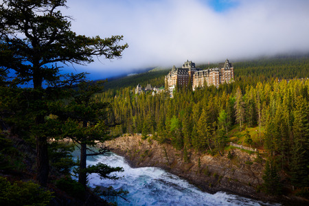 View of Historic Hotel from surprise corner in Banff, Alberta, Canada