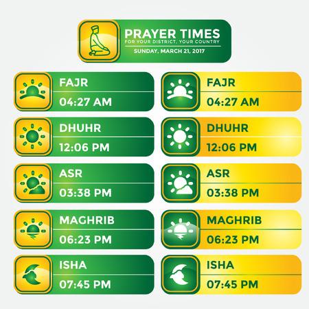Muslim prayer times template premium vector 矢量图像