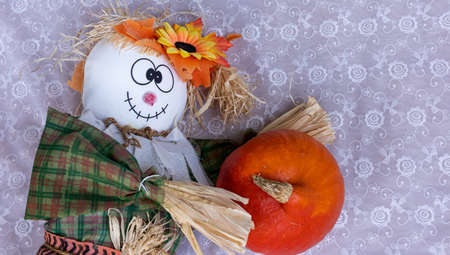 Scarecrow, pumpkin to celebrate Halloween and thanksgiving. Harvest and fall concept