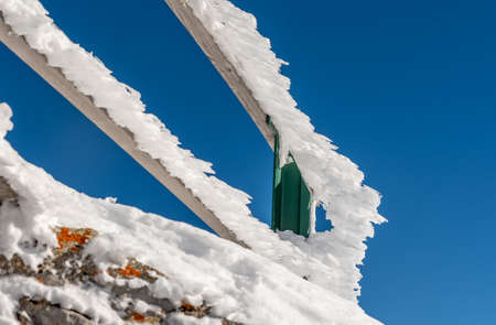 Snow covered barrier in winter. Rochers-De-Naye in Switzerland. Tranquil scene.