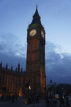 This is the Big Ben Monument located in London England at nighttime.