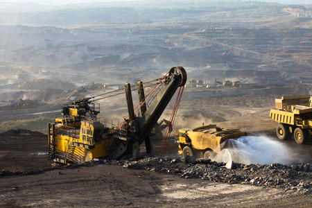 coal mine: Mining truck working Stock Photo