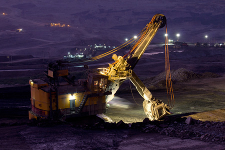Mining truck at night photo