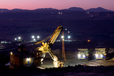 Mining truck at night Stock Photo