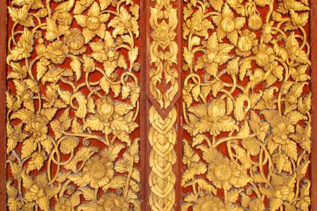 wood carving door: Thai art texture