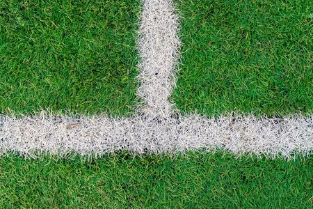 White stripe on the green soccer field top view. White line on artificial football field. Perpendicular drawn lines. Stok Fotoğraf