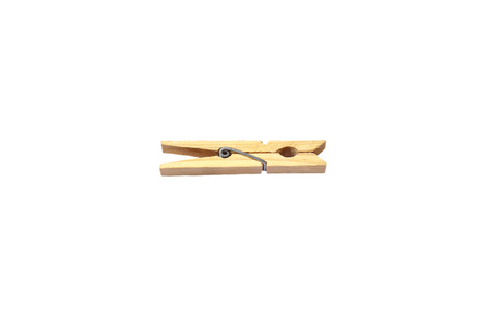 natural drying: Clothespin, white background Stock Photo