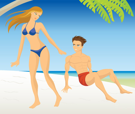 young people on beach Stock Vector - 6424882