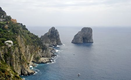Capri countryside viewed from high above looking down on the rocky coast line. photo