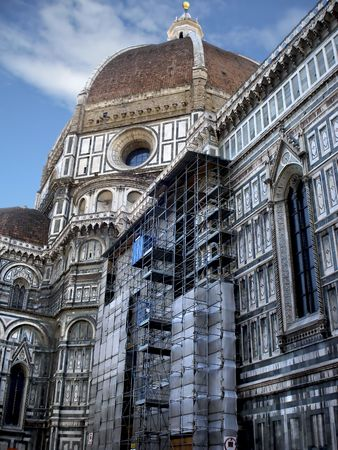 Cathedral of Duomo in Florence Italy under renovation.