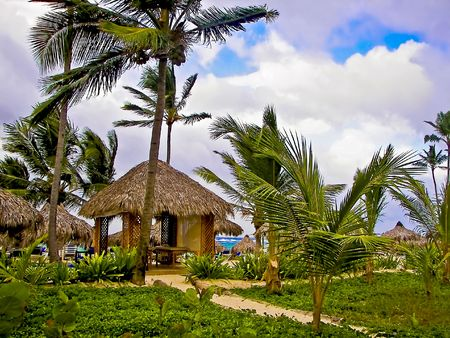 Tropical beach with  hut and palm trees Stock Photo - 3076437