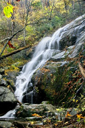 Tall and beautiful waterfall in the middle of autumn. Stock Photo - 3076444