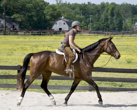 Young lady horse backriding in a sand ring on a beautiful good moving horse. photo