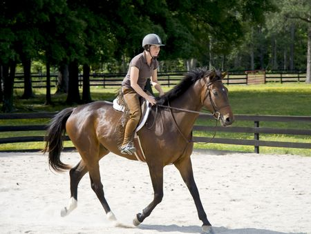show ring: Young lady horseback riding in a sand ring on a beautiful good moving horse.