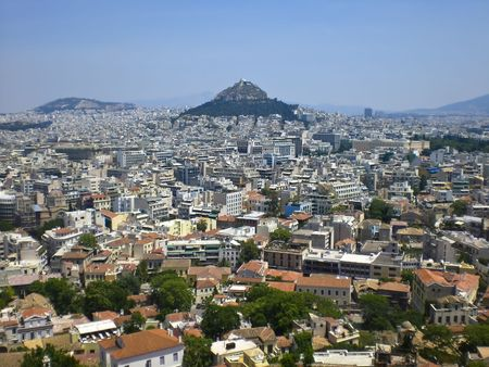arial view: Arial view of Mount Lycabettus and the surrounding populated city. Stock Photo