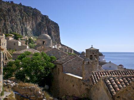 laconia: Scenic high view of Monemvassia in Greece.  View of Citadel church and surround ancient architecture.