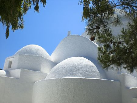 myconos: Totally white church located in the village of Chora near the port of los.