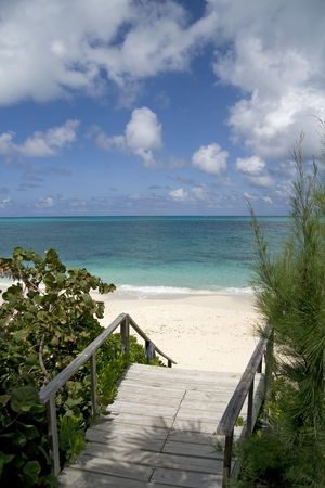 inlet bay: Beautiful lush entrance to a tropical beach with clear green water. Stock Photo