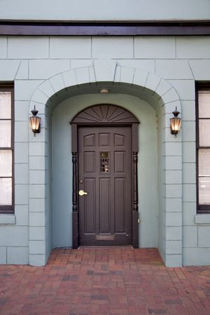Architectural detail of entrance to modern home. Stock Photo