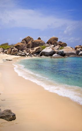 Beautiful shoreline with white sand at Virgin Gorda. photo