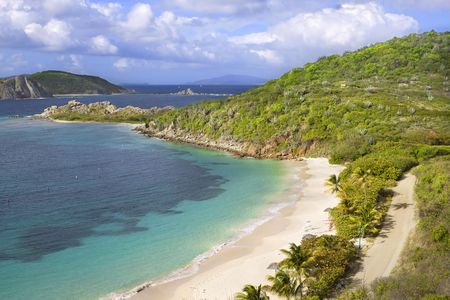 Beautiful view of tropical shoreline in the British Virgin Islands. photo