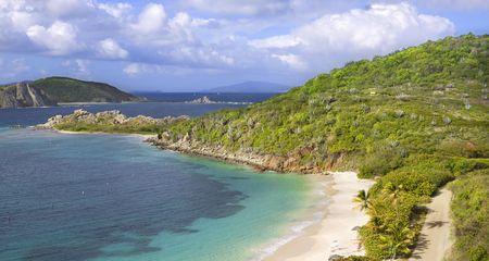 Beautiful tropical shoreline in the British Virgin Islands. photo
