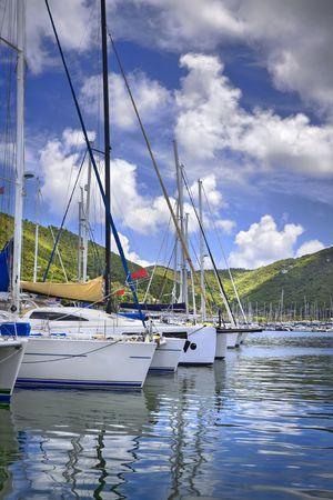 요트 요트와 무성 한 산 백그라운드로 늘어선 아름 다운 열 대 항구. 스톡 콘텐츠