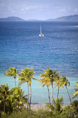 아름 다운 열 대 해안선 요트 항해 거리와 함께.