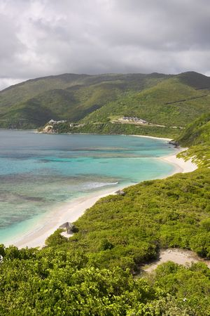 Beautiful mountains and tropical shorelines of the Virgin Islands.