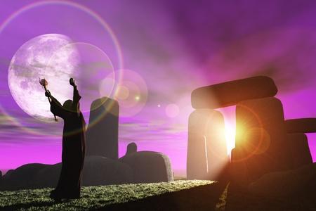 mago merlin: Fantas�a de representaci�n de Celtic druid ba�arse en los rayos del sol brillan a trav�s de los menhires de Stonehenge