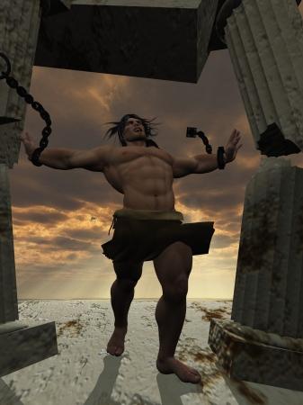 Samson tearing down the temple as a symbol of triumph over adversity , sacrifice etc