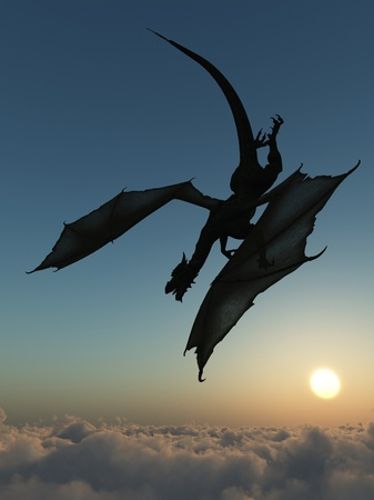 Dragon silhouetted against the sun diving into thick cloud photo