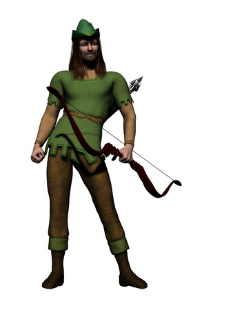 robin hood: Digital render of the famous English outlaw, Robin Hood. Stock Photo