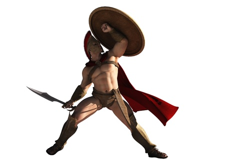 Digital render of Spartan warrior with shield held for protection from arrows isolated on white Stock Photo - 12290521