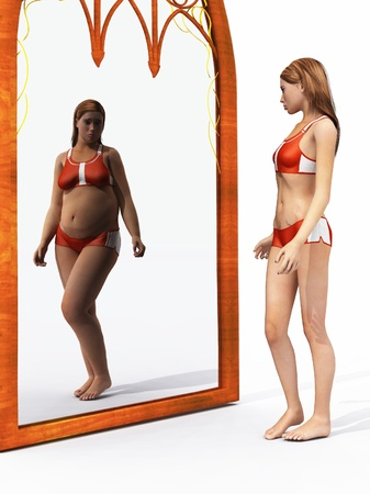 espelho: Health concept people suffer from eating disorders, such as anorexia nervosa or bulimia, have a distorted perception of what they actually look like