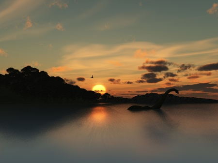 Rendered image - the sun sets over the lake, is that Nessie in the distance? photo