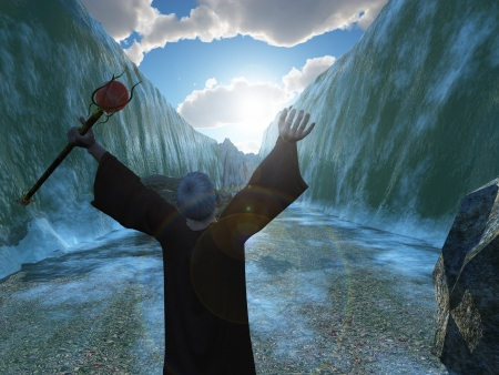 Digital render depicting Moses parting the Red Sea