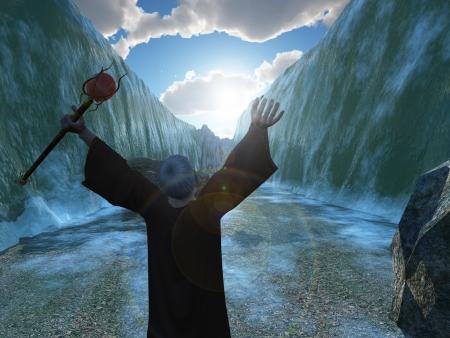 historias biblicas: Digital render que representa a Moisés dividiendo el Mar Rojo