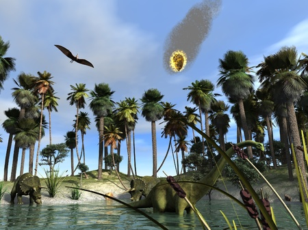 extinction: Le m�t�ore qui a fait dispara�tre les dinosaures Banque d'images