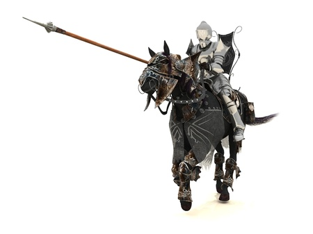Armoured knight on charging warhorse Stock Photo
