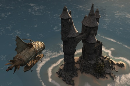 Fantasy airship approaches fairytale castle on island where cloaked figure waits Stock Photo