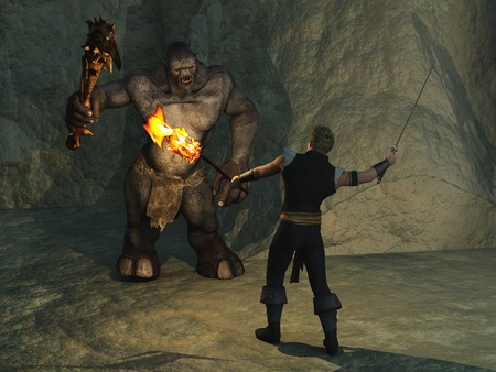 Warrior figure with sword and flaming torch is confronted by club wielding cave troll