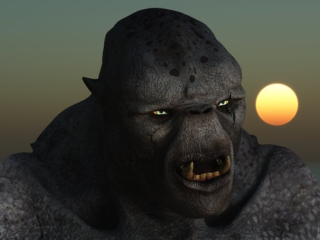 Close up image of monstrous grey skinned troll with glowing eyes and bared fangs