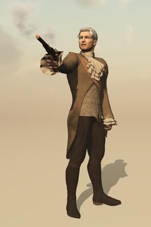 duelling: Aristocrat in regency clothing firing flintlock duelling pistol Stock Photo