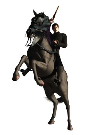 Rendered image of highwayman brandishing flintlock pistol on rearing black stallion isolated on white photo