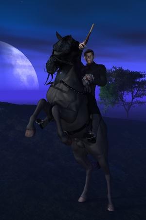 Rendered image of highwayman brandishing flintlock pistol on rearing black stallion at night Stock Photo