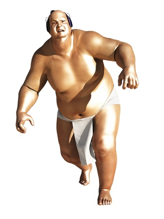 Rendered image of sumo wrestler oiled up and ready for action Stock Photo