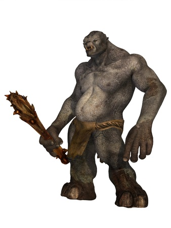 Fearsome grey skinned ogre or troll with wooden club isolated on white Stock Photo